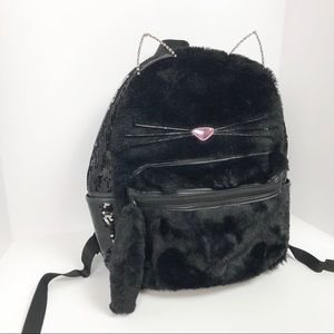 4b489f4e4ce2ca Claire's Bags | Claires Fuzzy Sequin Black Cat Backpack | Poshmark